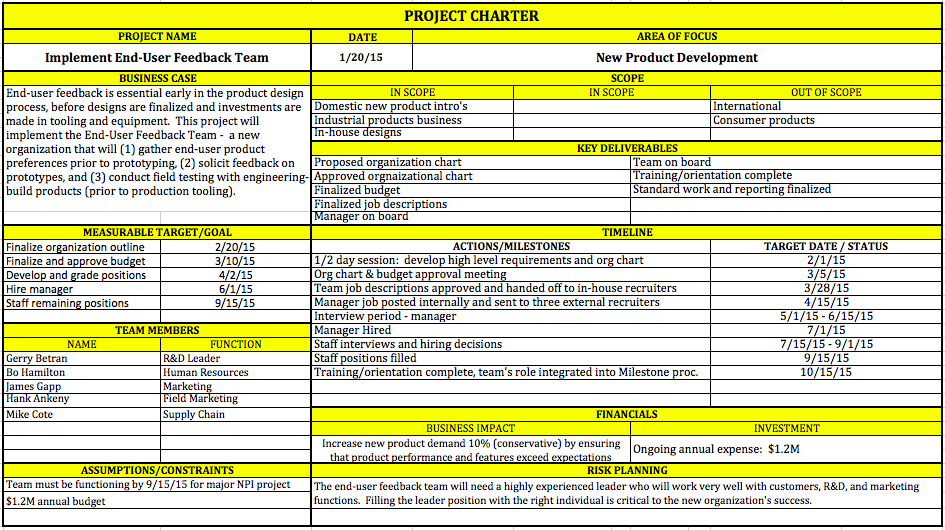 Project charter project management skills for Team charter template sample